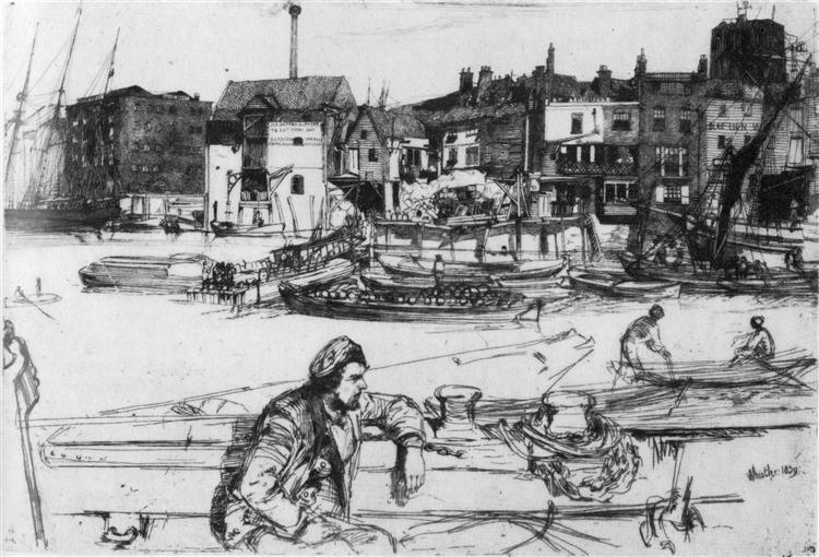 Black Lion Wharf, 1859 - James McNeill Whistler