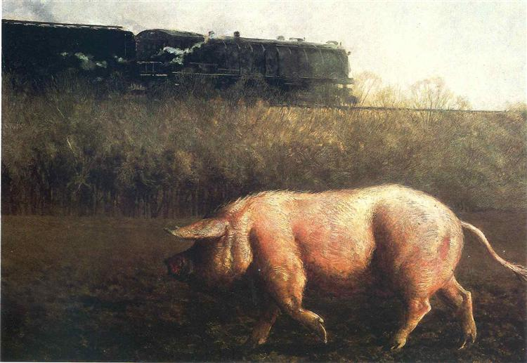Pig and Train, 1977 - Jamie Wyeth