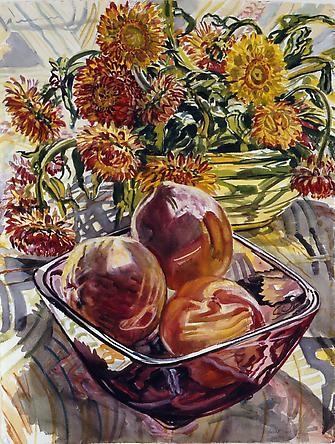 Peaches and Strawflowers, 1990 - Janet Fish