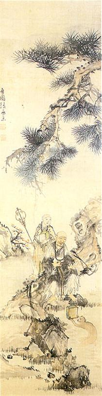 Painting of an old monk under the pine tree - Owon