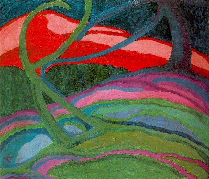 Landscape in Dark Colours (Trees), 1918 - Janos Mattis-Teutsch