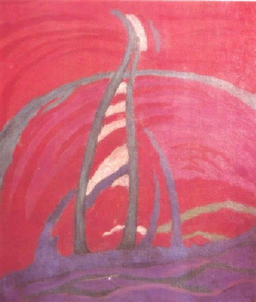 Red Landscape, 1918 - János Máttis-Teutsch