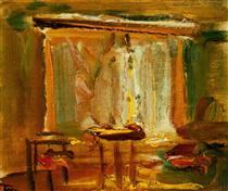 Interior with Curtained Window - Janos Tornyai