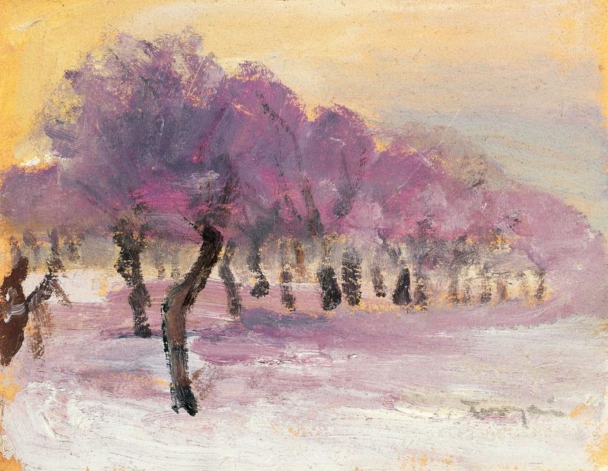 Winter Landscape with Violet Lights