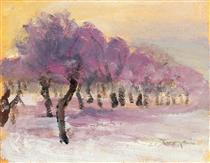 Winter Landscape with Violet Lights - Janos Tornyai