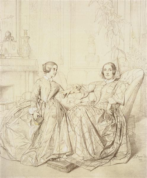 Countess Charles d'Agoult and her daughter Claire d'Agoult, 1849 - Jean-Auguste Dominique Ingres