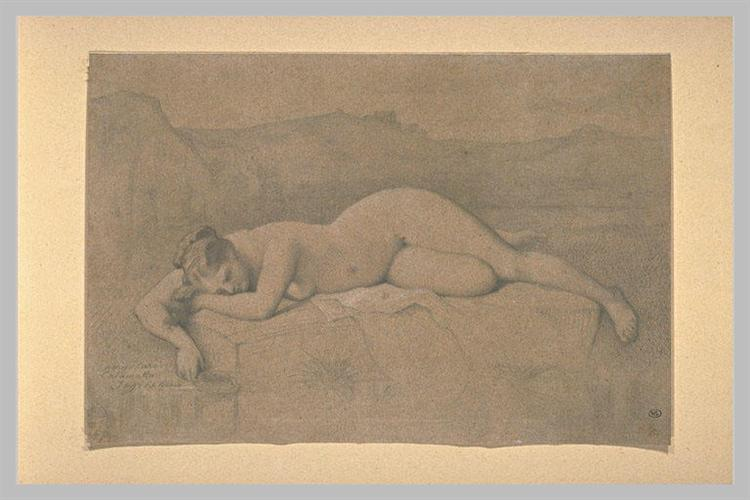 Naked woman lying on a rock - Jean Auguste Dominique Ingres