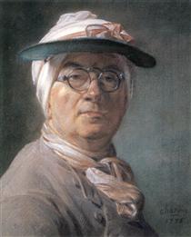Self-portrait wearing Glasses - Jean-Baptiste-Simeon Chardin