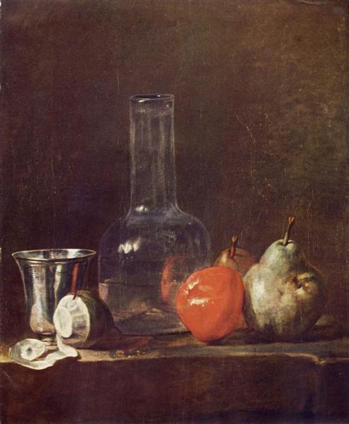 Still Life with Glass Flask and Fruit, c.1750 - Jean-Baptiste-Simeon Chardin