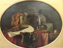 The instruments ofmilitary music - Jean-Baptiste-Simeon Chardin