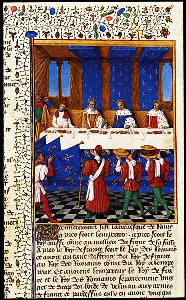Banquet Given by Charles V (1338-80) in Hhonour of His Uncle Emperor Charles IV (1316-78) in 1378, 1455 - 1460 - Jean Fouquet