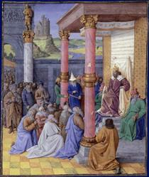 Emperor Cyrus the Great of Persia, who permitted the Hebrews to return to the Holy Land and rebuild God - Jean Fouquet