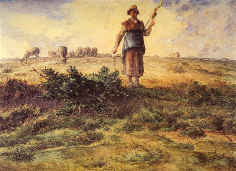 A Shepherdess And Her Flock - Jean-François Millet