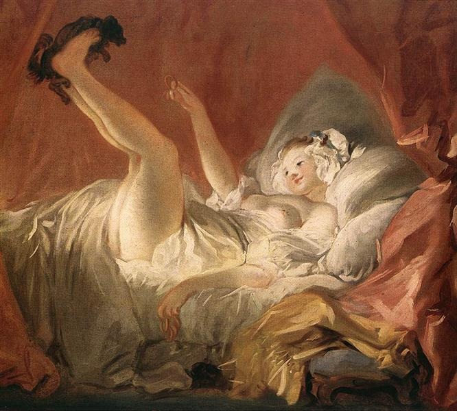 Young Woman Playing with a Dog - Fragonard Jean-Honore