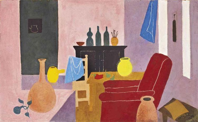 Intérieur du Cazal, fauteuil rouge, 1968 - Jean Hugo