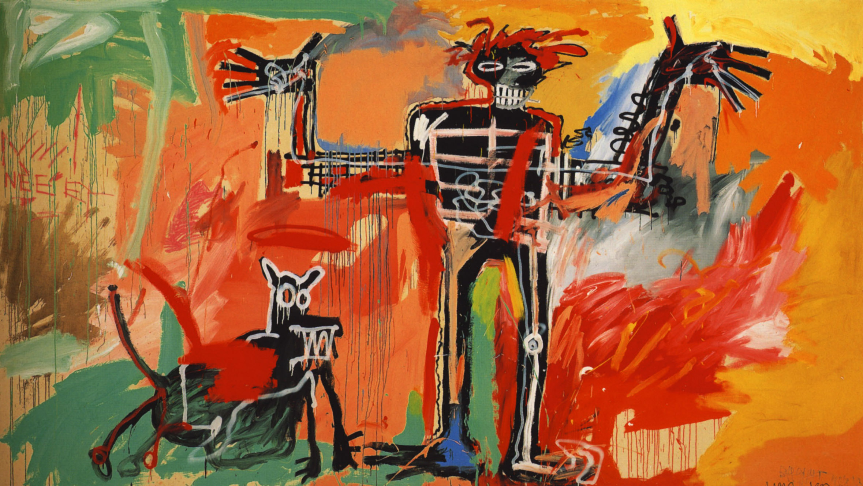 Boy and dog in a Johnnypump de Basquiat