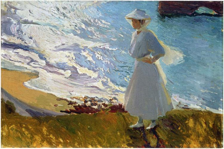 Maria at the Beach, Biarritz, 1906 - Хоакін Соролья