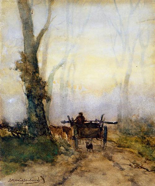 Man on a cart in wood - Johan Hendrik Weissenbruch