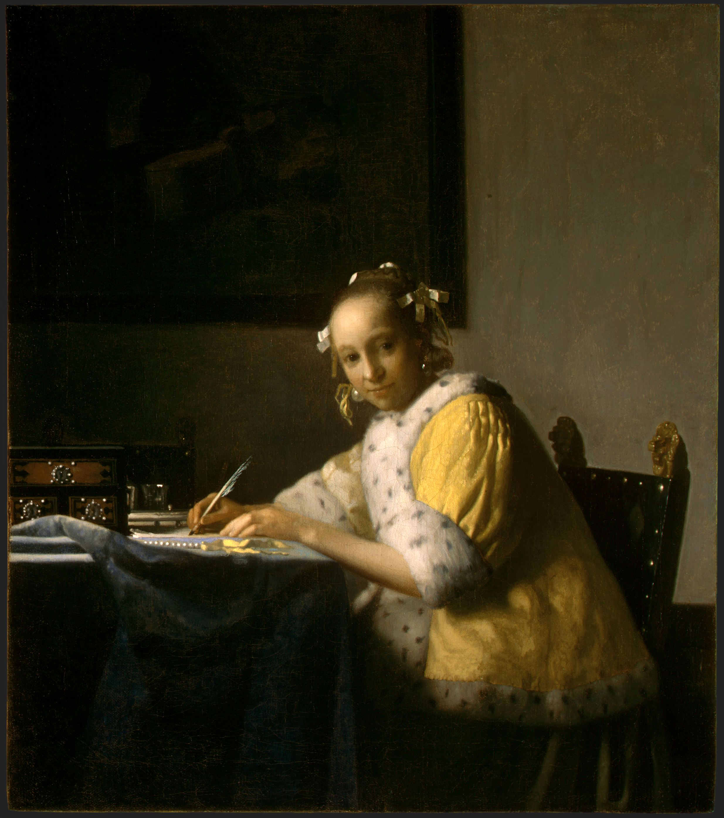 Woman writing a letter stock photos