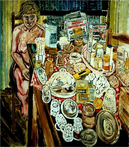 Jean and Still Life in front of a Window - John Bratby