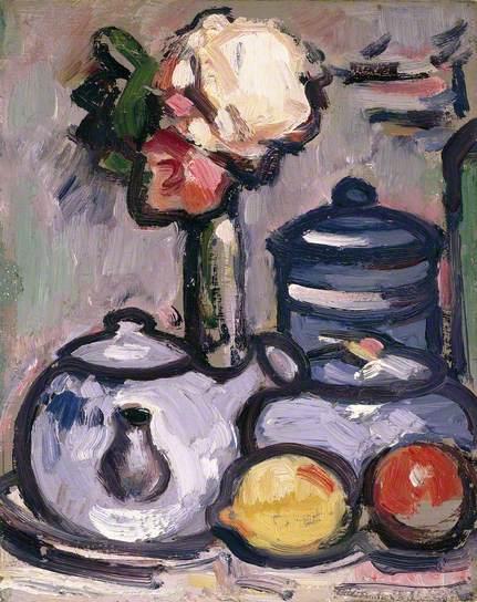 Still Life: Teapot with Flowers and Fruit, 1912 - John Duncan Fergusson