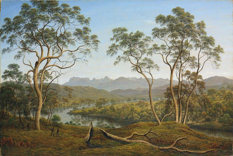 Ben Lomond from Mr Talbot's Property – four men catching opposums - John Glover