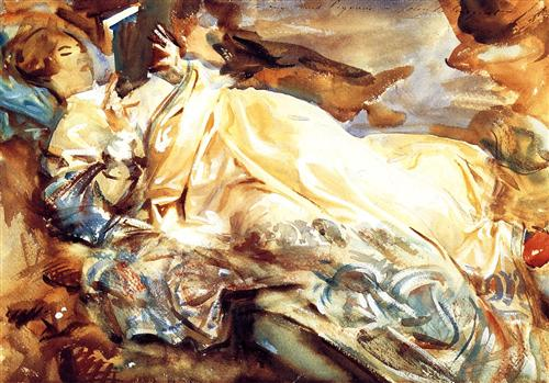Woman Reading in a Cashmere Shawl - John Singer Sargent
