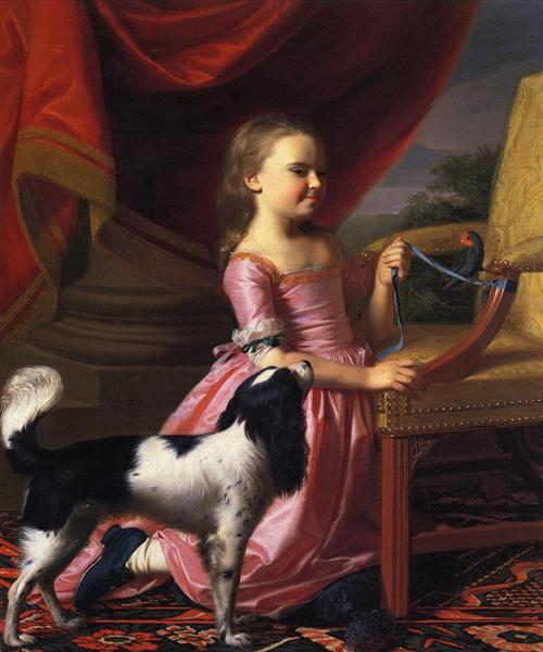 Young lady with a bird and dog, 1767 - John Singleton Copley