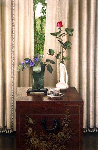 Still Life with Rose and View into Landscape, 1984 - John Stuart Ingle