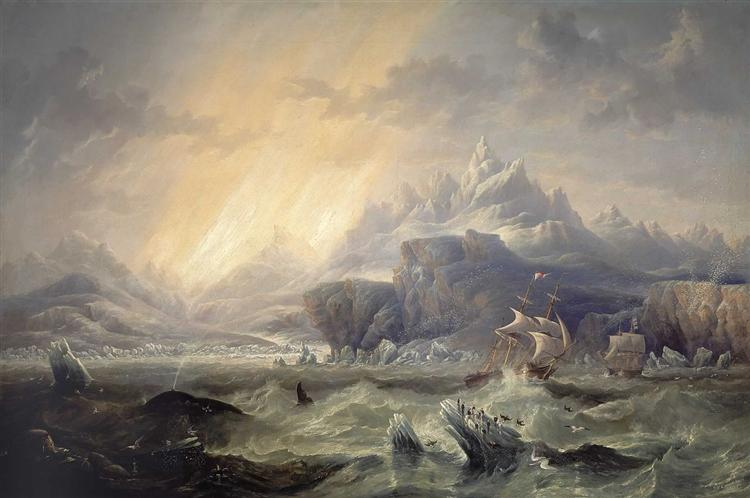 HMS Erebus and Terror in the Antarctic - John Wilson Carmichael