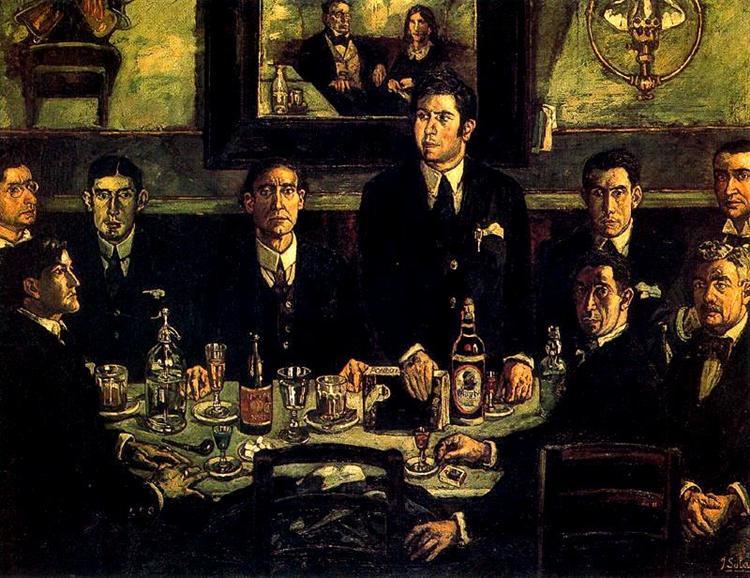 The Coffee Gathering Pombo, 1920 - Jose Gutierrez Solana