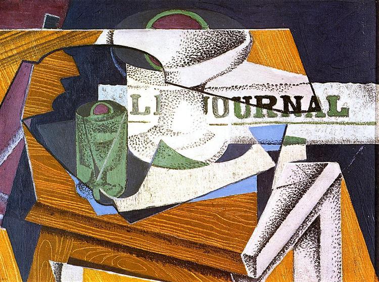 Fruit Bowl, Book and Newspaper - Хуан Грис