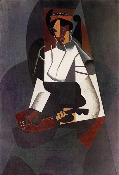 Woman with a Mandolin (after Corot), 1916 - Хуан Грис