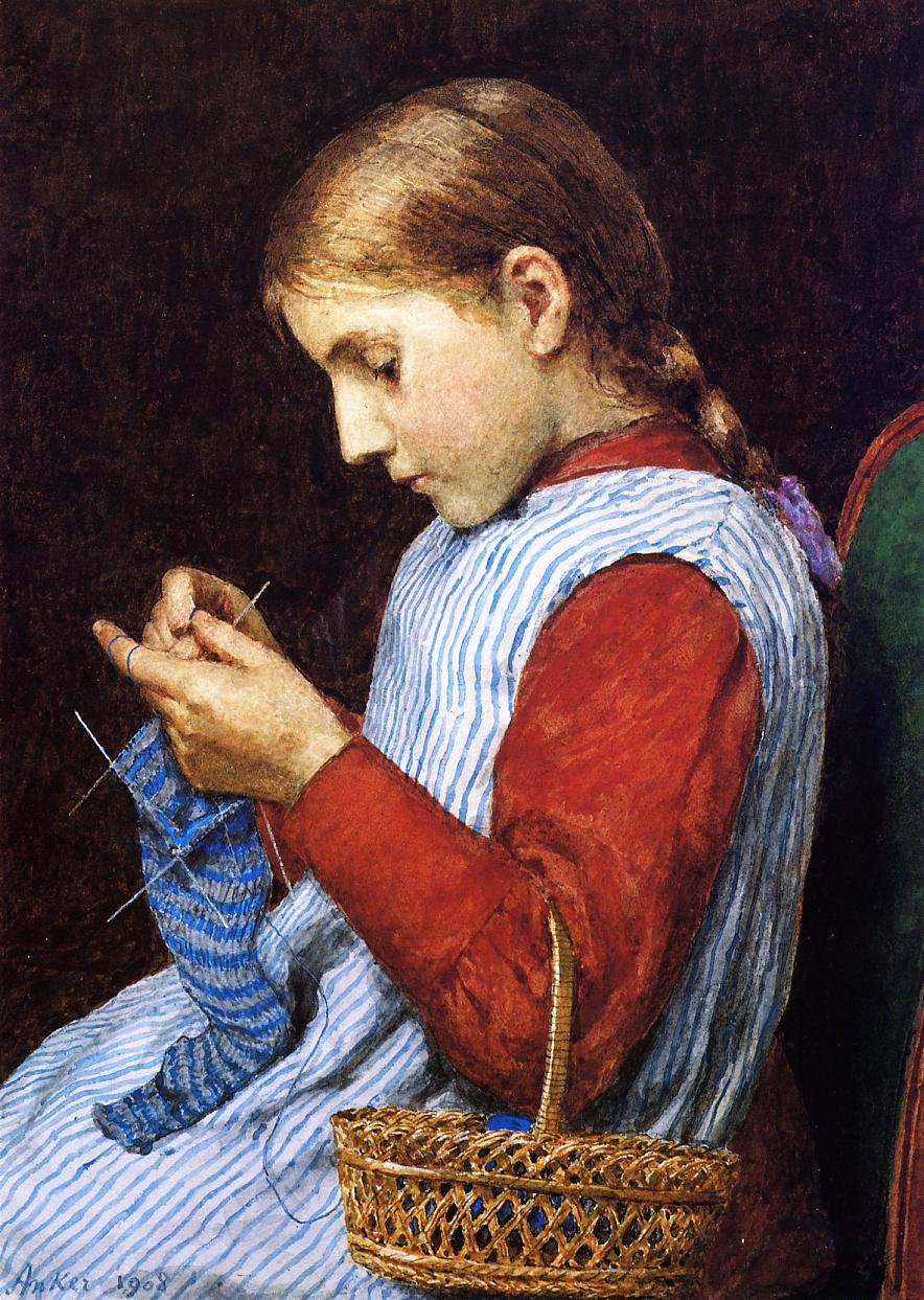 Knitting Artist : Girl knitting julian alden weir wikiart