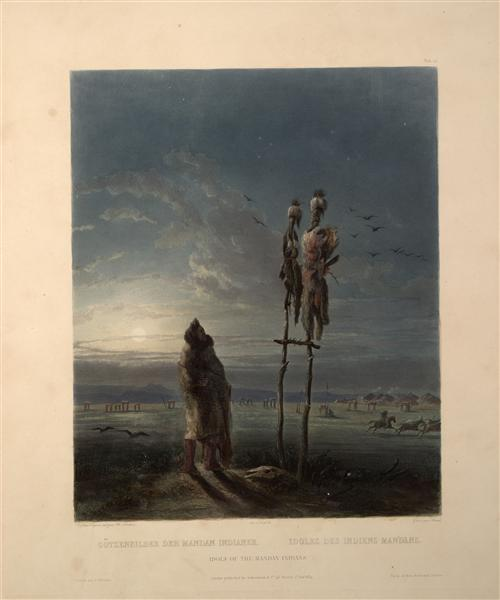 Idols of the Mandan Indians, plate 25 from volume 2 of `Travels in the Interior of North America', 1844 - Karl Bodmer
