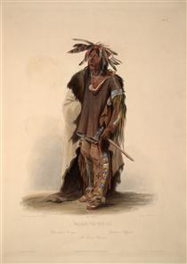 Wahk-Ta-Ge-Li, a Sioux Warrior, plate 8 from Volume 2 of 'Travels in the Interior of North America' - Karl Bodmer