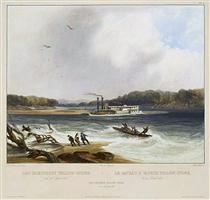 Yellowstone, Missouri River steamboat, depicted as aground on - Karl Bodmer