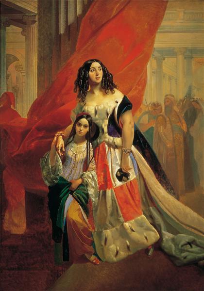 Портрет графини Ю.П. Самойловой, удаляющейся с бала с приемной дочерью Амацилией Пачини, c.1842 - Карл Брюллов