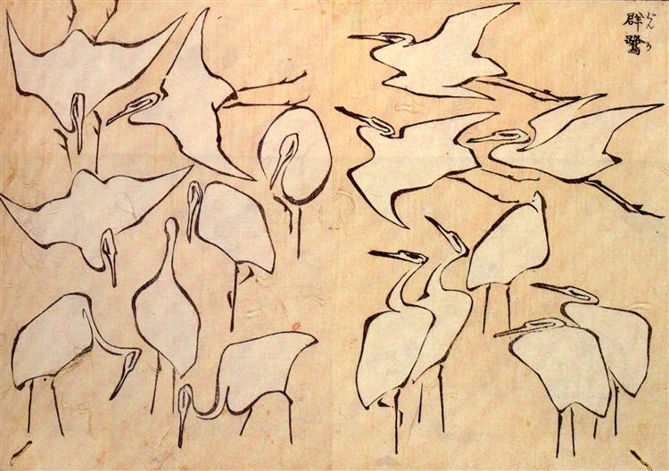 Cranes from Quick Lessons in Simplified Drawing, 1823 - Katsushika Hokusai