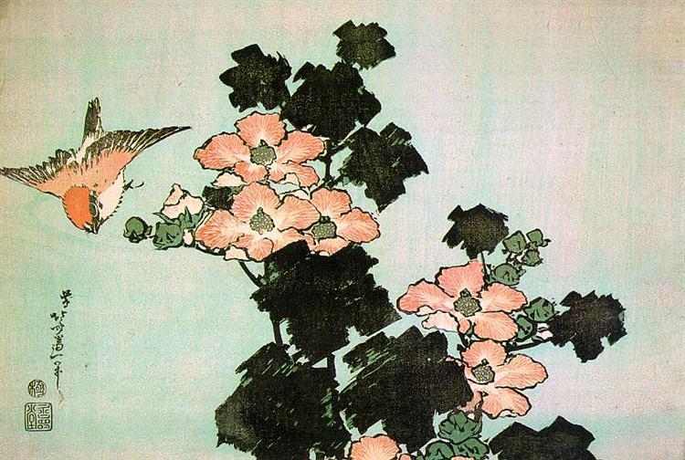 Hibiscus and Sparrow, c.1830 - Katsushika Hokusai