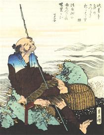 Vecchio pescatore che fuma la pipa - Katsushika Hokusai