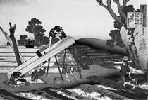 Sawyers Cutting a Log - Katsushika Hokusai