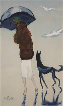 Woman with a dog walking on the beach - Kees van Dongen