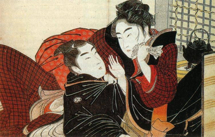 A scene from the 'Poem of the Pillow' - Utamaro Kitagawa
