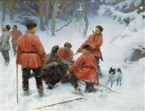 Capture of bear in the woods - Klavdi Lébedev