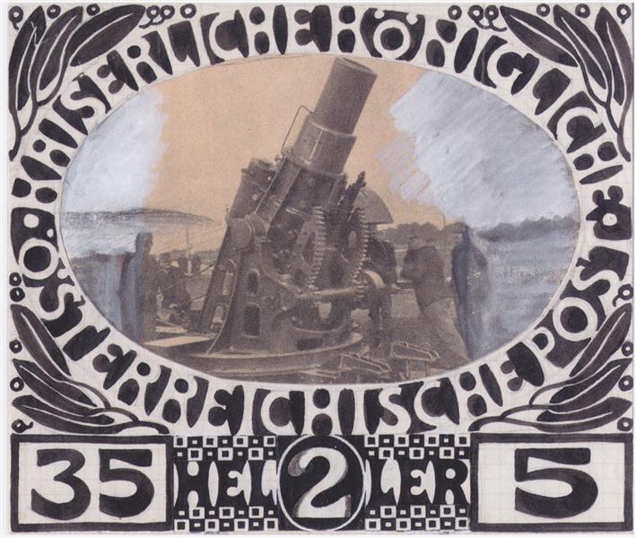 Draft for a war charity brand, 1915 - Koloman Moser