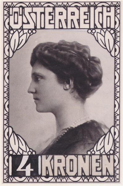 Stamp Design Empress Zita (not accepted), 1917 - Koloman Moser