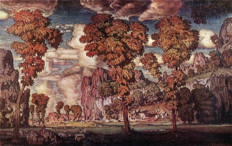 Пейзаж со скалами. Старый Крым., 1908 - Константин Богаевский