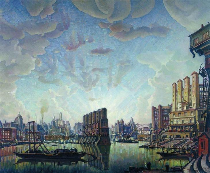 Port of imaginary city - Konstantin Bogaevsky