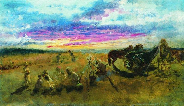 Campfire. Kachanovka, 1888 - Konstantin Makovsky
